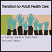 """""""Transition to Adult Health Care"""" on light purple background with icons of raised hands."""