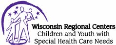 """CYSHCN Logo: Three purple outlines of figures with stars and a half-circle in the background. Text says """"Wisconsin Regional Centers Children and Youth with Special Health Care Needs"""""""
