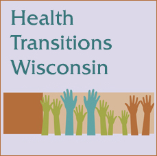 Health Transitions Wisconsin Logo: raised hands in green, turquoise and orange.