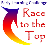 """Early Learning Challenge"" in blue text at the top, ""Race to the Top"" in red text below on the right, and a blue, red, and yellow upward-curved arrow on the left."