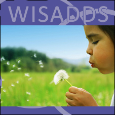 "WISADDS Logo: light purple ""WISADDS"" on dark purple background with child blowing dandelion seeds in a green field."
