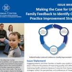 """Making the Case for Family Feedback to Identify Clinical Practice Improvement Strategies."" Close-up of child with parents in the background."