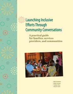 "Front of ""Launching Inclusive Efforts Through Community Conversations."" Group of adults sitting at a table looking at a speaker in front of an easel."