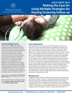 "Front of ""Making the Case for Improved Strategies for Hearing Screening Follow-up."" Young child with cochlear implant laying on a pillow."