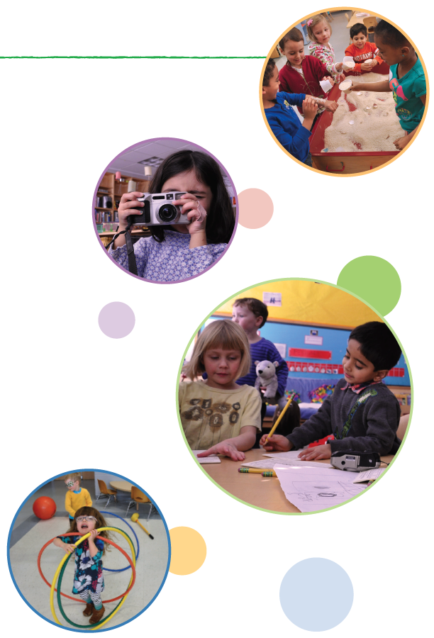 Four images with circles around them. From top to bottom: Five children smiling playing in a sand table. Girl with dark brown hair holding a camera up to her face. One girl with short blonde hair and one boy with black hair writing at a desk. Girl with glasses standing with three hula hoops around her