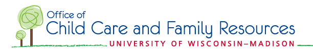 Office of Care and Family Resources University of Wisconsin-Madison logo with one small and one large illustrated tree