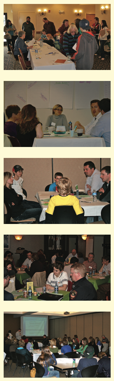 Community conversations at various table settings