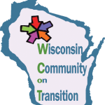 """Wisconsin Community on Transition"" and five colorful arrows pointing to the center in outline of Wisconsin."