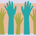 Ten green, blue and orange raised hands illustration.