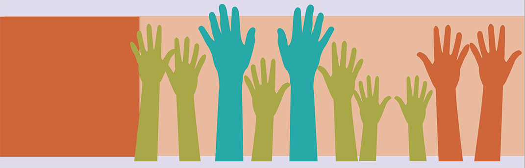 Ten green, blue and orange raised hands illustration.