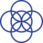 Five overlapping dark blue circles