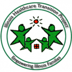 """Illinois Healthcare Transition Project"" with four green stars with heads. The two large stars point to a red sun. The two smaller green stars point to a red square with one black vertical line and one black horizontal line inside. Below the image is ""Empowering Illinois Families"""