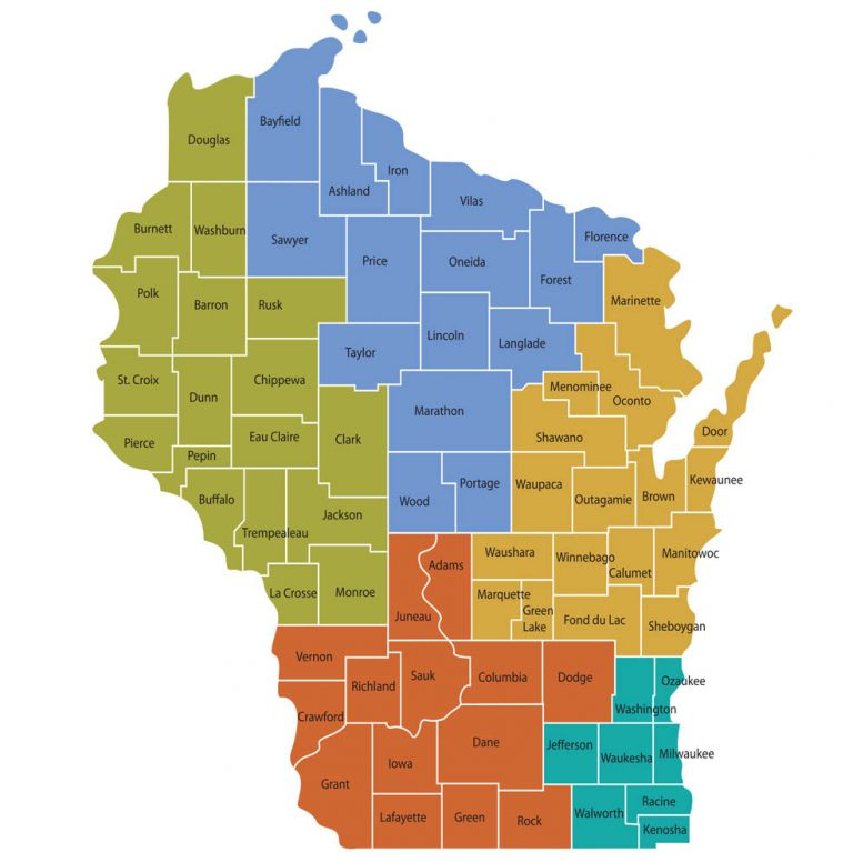 Children and Youth with Special Health Care Needsn Wisconsin five Regional Centers shown on map.
