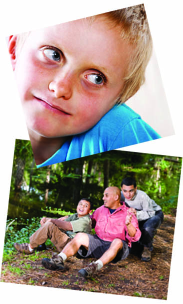 two photos young boy and father with his two sons. page 24