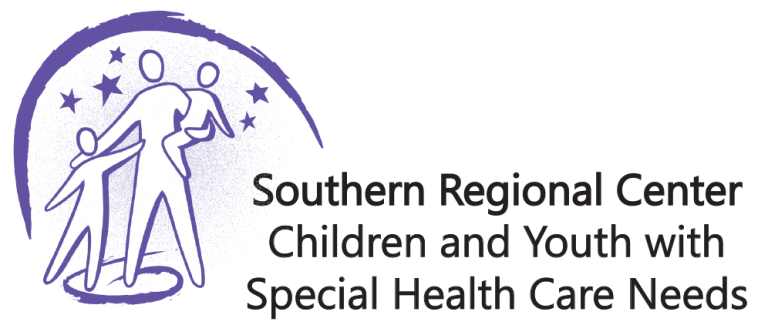Three purple-outlined figures under purple stars and semi-circle. Southern Regional Center Children and Youth with Special Health Care Needs