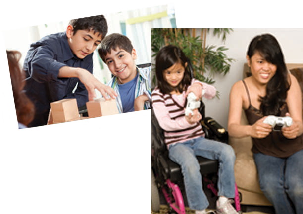 Two photos first photo two boys playing with blocks one child in a wheelchair. Second photo girl in wheelchair and woman sitting on a couch next to her playing video games.