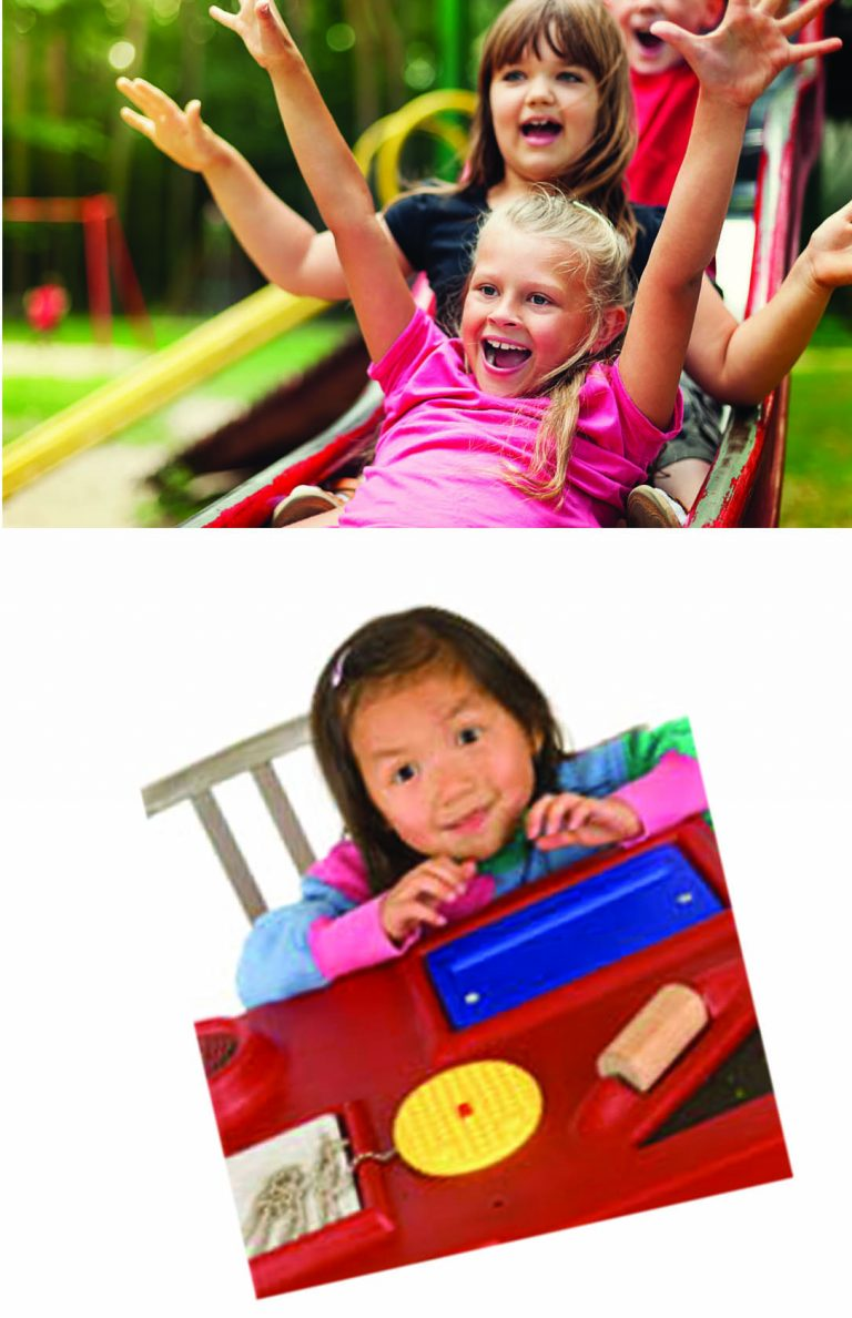 Children going down slide (top picture) child with toys (bottom picture)