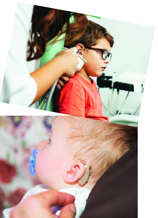 Boy getting hearing tested (top picture) baby with hearing aid (bottom picture)