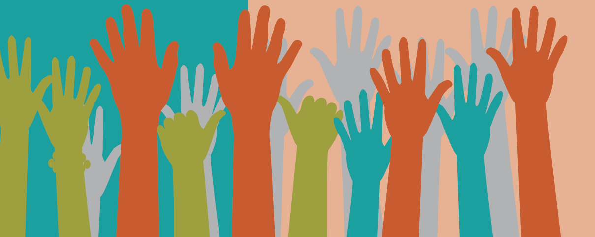 Green, orange, and turquoise raised hands with turquoise and light orange background.