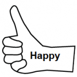 Happy inside outline of hand with thumb pointing up.