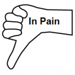 In Pain inside outline of hand with thumb pointing down.