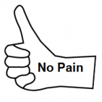 No Pain inside outline of thumb with thumb pointing up.