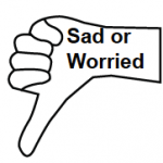 Sad or Worried inside outline of a hand with the thumb pointing down.
