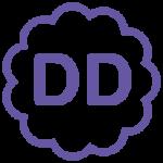 "Purple letters ""DD"" inside a circular cloud."