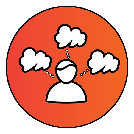 """Orange circle with figure and three clouds coming out of the head to represent """"Decisions"""""""