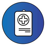 "Dark blue circle with a health badge inside to represent ""Health Summary"""