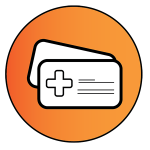 """Light orange circle with a health insurance card inside to represent """"Health Insurance"""""""