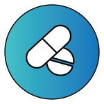"Light blue circle with two pills inside to represent ""Medications"""