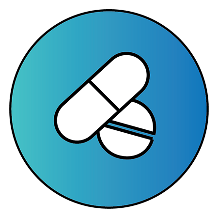 """Light blue circle with two pills inside to represent """"Medications"""""""