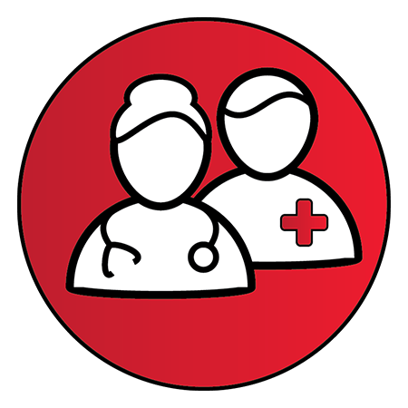 """Red circle with two healthcare figures inside to represent """"Adult Provider(s)"""""""