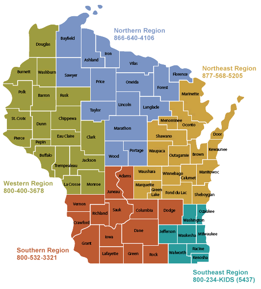 State of Wisconsin with counties a different color by region: Western Region 800-400-3678 green, Northern Region 866-640-4106 blue, Northeast Region 877-568-5205 orange, Southeast Region 800-234-KIDS (5437) teal, Southern Region 800-532-3312 red-orange