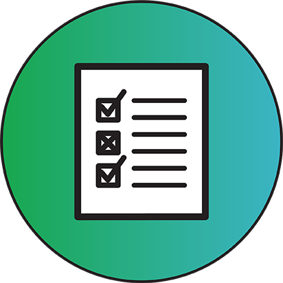 Green and blue circle with a checklist inside.