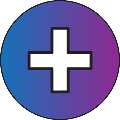Blue and purple circle with a plus sign inside